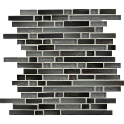 Stormy Tide 12 in. x 11.75 in. x 8 mm Interlocking Mixed Glass Mosaic Tile (9.8 sq. ft. / case)