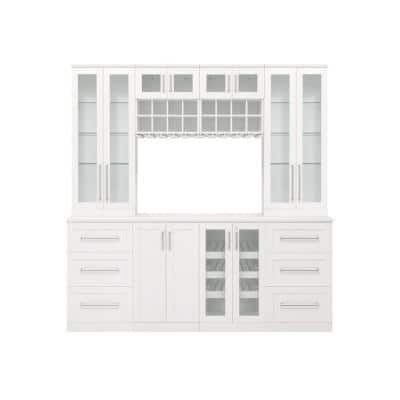 Home Bar 21 in. White Cabinet Set (9-Piece)