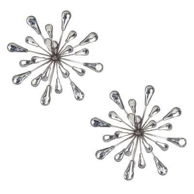 7 in. x 7 in. Metal and Acrylic Silver Starburst Wall Art (Set of 2)