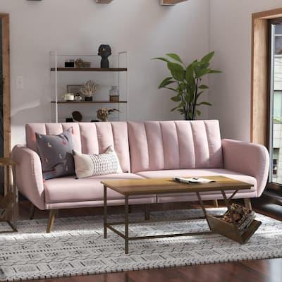 Brittany Pink Linen Futon Convertible