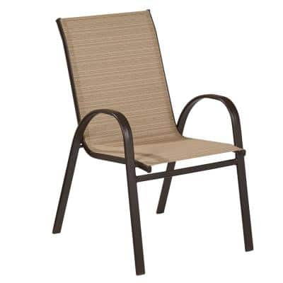 Mix and Match Stackable Sling Outdoor Dining Chair in Cafe