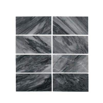 Bardiglio Gray 3 in. x 6 in. Polished Marble Wall and Floor Tile  (1 sq. ft./Pack)
