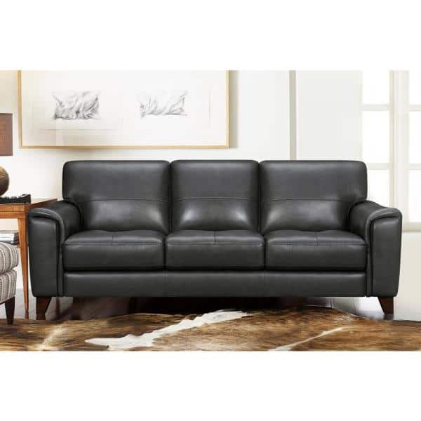 Pewter Leather Square Arm Sofa Lcbe3pw, Square Arm Leather Sofa