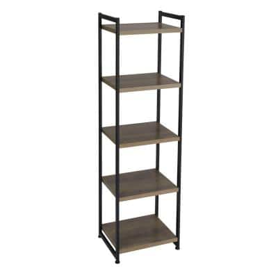 59.1 in. Gray/Black Metal 5-shelf Etagere Bookcase with Open Back