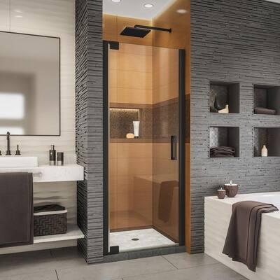 Elegance-LS 35-3/4 in. to 37-3/4 in. W x 72 in. H Frameless Pivot Shower Door in Satin Black