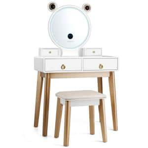 White and Gold Touch Screen Dimming Mirror with Bluetooth Speakers Vanity Dressing Table Set