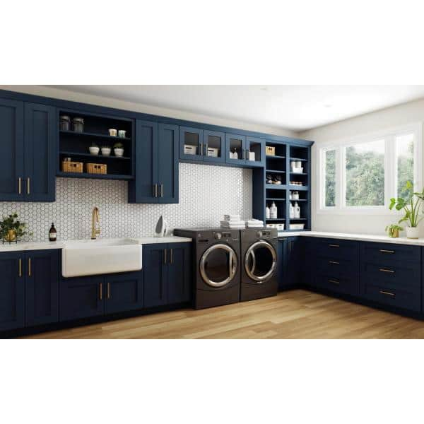 Home Decorators Collection Neptune Blue Painted Shaker Stock Assembled Plywood Kitchen Cabinet Crown Molding 96 In X 3 In X 2 75 In Cm8 Mb The Home Depot
