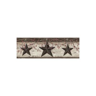 Graham Cream Rustic Star Trail Black Wallpaper Border Sample