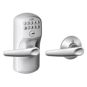 Plymouth Satin Chrome Electronic Door Lock with Jazz Door Lever