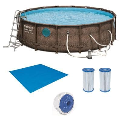 16 ft. Round 48 in. D Power Steel Hard Side Swim Vista Swimming Pool Set with Accessories