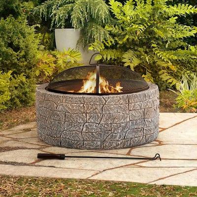 Normandie Stone 26 in. Round Steel Wood Burning Firepit