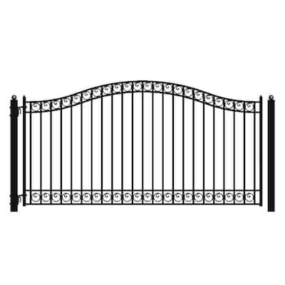 Dublin Style 16 ft. x 6 ft. Black Steel Single Swing Driveway Fence Gate
