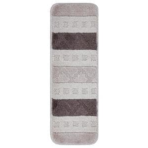 Softy Collection Off-White/Brown Striped Design 9 in. x 26 in. Rubber Back Stair Tread Cover (Set of 7)