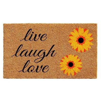 Sunflower Live Laugh Love 24 in. x 36 in. Door Mat