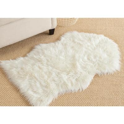 Faux Sheep Skin Ivory 8 ft. x 10 ft. Solid Gradient Area Rug