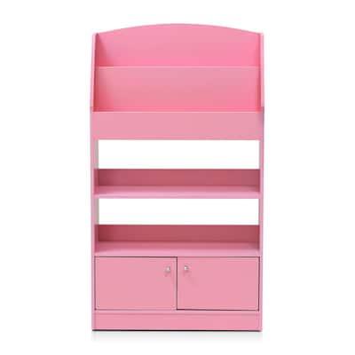 KidKanac 43.31 in. Pink Faux Wood 5-shelf Etagere Bookcase with Doors