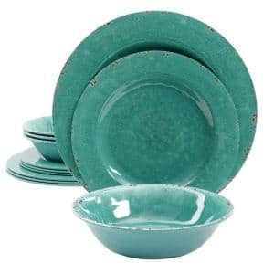 Mauna 12-Piece Casual Teal Melamine Outdoor Dinnerware Set (Service for 4)