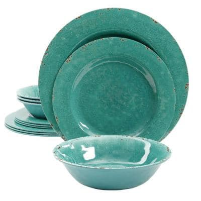 Mauna 12-Piece Casual Teal Melamine Outdoor Dinnerware Set (Service for 4)