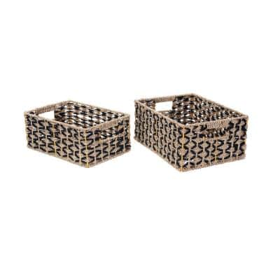 Hand-Woven Water Hyacinth Wicker Rectangular Nesting Baskets in Black and Natural (2-Pack)