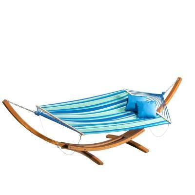 Richardson 13 ft. Fabric Hammock Bed in Blue, Green and White Stripes