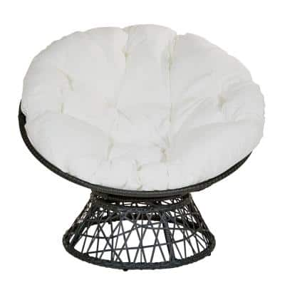 Papasan Chair with White Round Pillow-Top Cushion and Black Frame