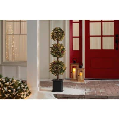 4 ft Winslow Fir Pre-Lit Potted Artificial Topiary Christmas Tree with 150 Warm White Mini Lights