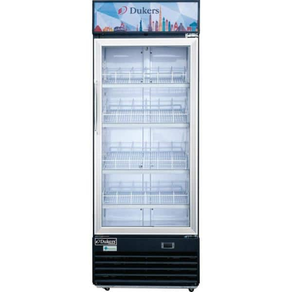 Dukers 11 4 Cu Ft Commercial Single Glass Swing Door Merchandiser Refrigerator In Black Dsm 12r The Home Depot