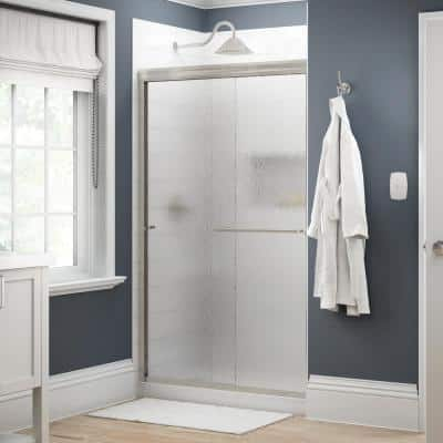 Simplicity 48 in. x 70 in. Semi-Frameless Traditional Sliding Shower Door in Nickel with Rain Glass