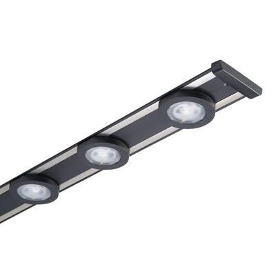 18 in. LED Black Under Cabinet Puck Light Kit
