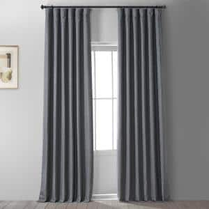 Signature Global Grey Gray Faux Linen Blackout Curtain - 50 in. W x 96 in. L (1 Panel)