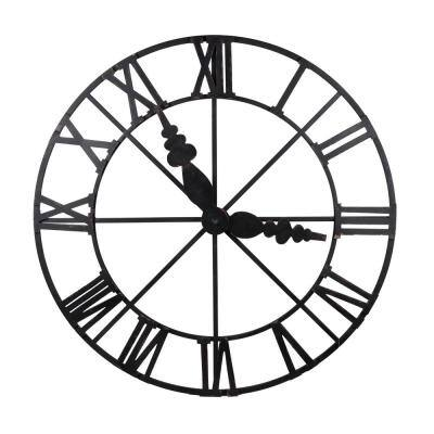 Faux Clock Wall Decor - Matte Black