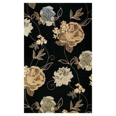 Large Poppies Black 5 ft. x 8 ft. Area Rug