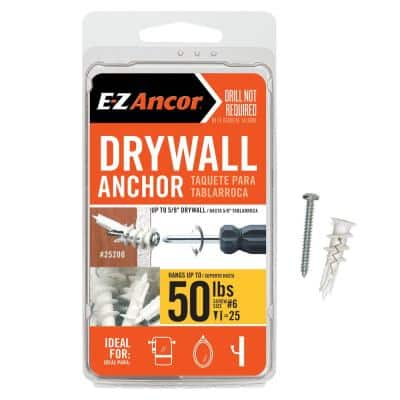 Twist-N-Lock 50 lbs. Drywall Anchors with Screws (25-Pack)