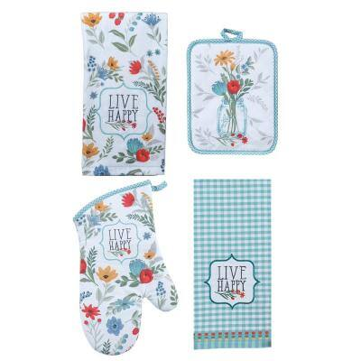 Blooming Thoughts Cotton Multi Kitchen Textiles (Set of 4)
