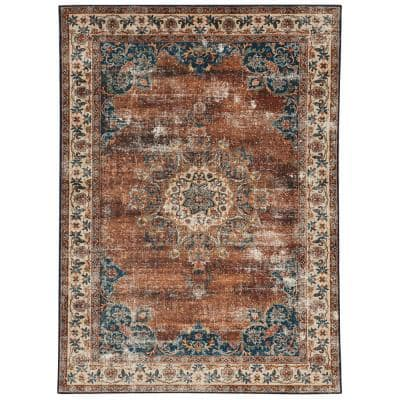 Washable Frances Russet and Ivory 5 ft. x 7 ft. Distressed Polyester Area Rug