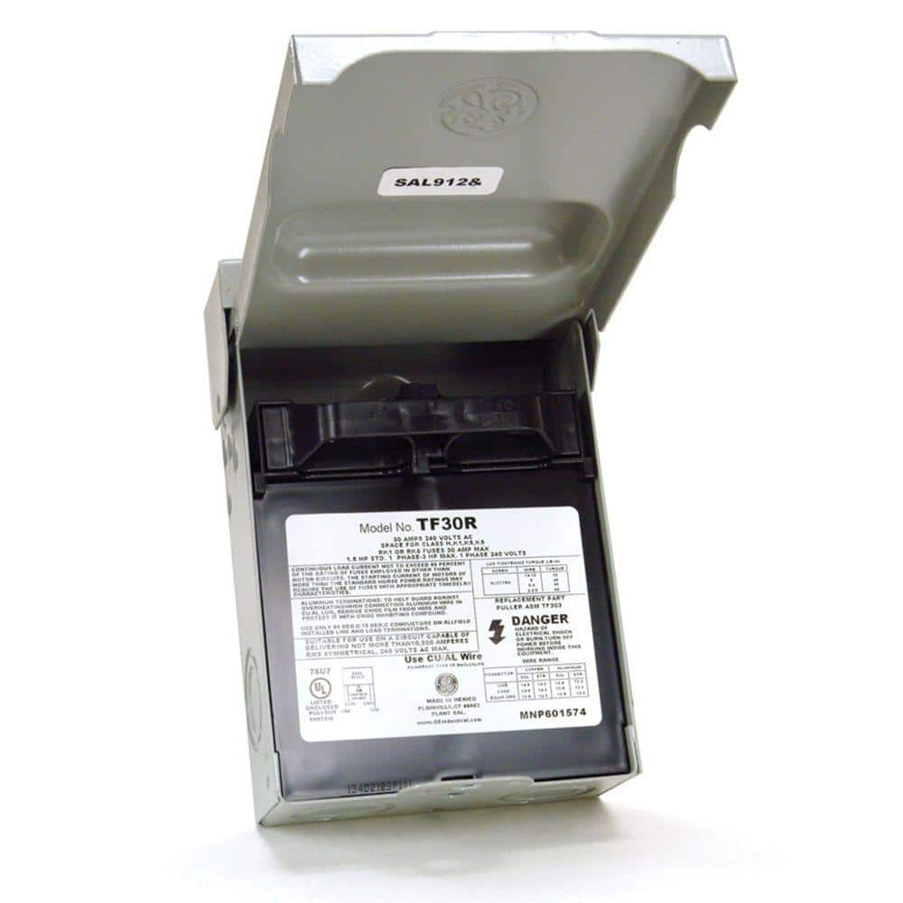 ge 30 amp 120/240-volt 240-watt fused ac disconnect-tf30rcp - the home depot  the home depot