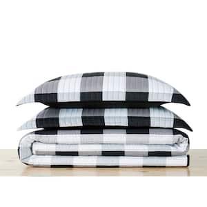Everyday Buffalo Plaid 3-Piece Black Full/Queen Microfiber Quilt Set