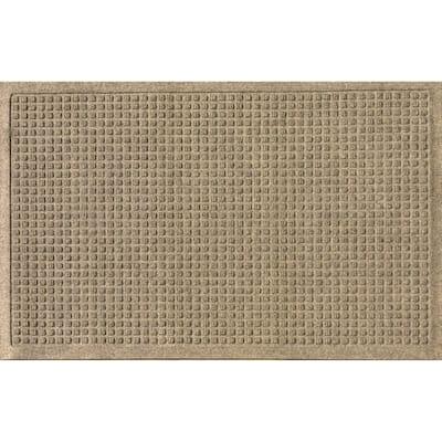 Aqua Shield Squares 23 in. x 35 in. PET Polyester Doormat Camel
