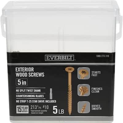 #10 x 5 in. Star Drive Flat Head Exterior Wood Screws (213-Pack)