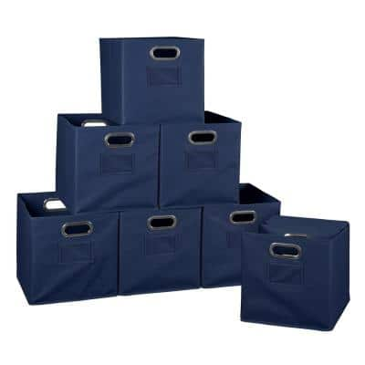 Cheer 12 in. D x  12 in. W x 12 in. H Blue Folding Fabric Bin (12-Pack)