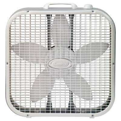 20 in. 3 Speed White Box Fan with Save-Smart Technology for Energy Efficiency