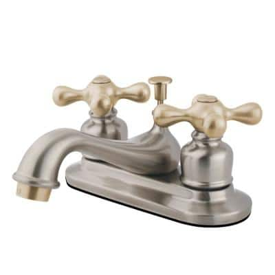 Restoration 4 in. Centerset 2-Handle Bathroom Faucet in Brushed Nickel and Polished Brass