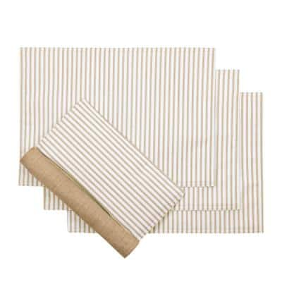 Plaza Stripe 18 in. x 12 in. Tan Polyester/Cotton Placemats ( Set of 4)