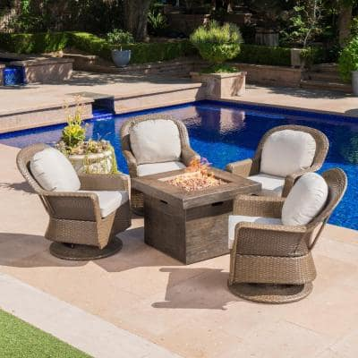 Colosseum Brown 5-Piece Wicker Patio Fire Pit Set with Ceramic Gray Cushions
