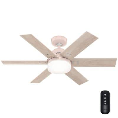 Pacer 44 in. Indoor Blush Pink Ceiling Fan with Light Kit and Remote