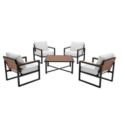 West Park 5-Piece Aluminum Patio Deep Seating Set with CushionGuard White Cushions