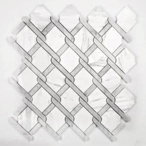 Tuscany Calacatta White Diamond Mosaic 12 in. x 12 in. Marble Wall & Floor Tile (10.5 Sq. Ft./case)