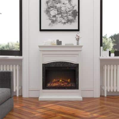 Robinside 40.5 in. Electric Freestanding Fireplace in White