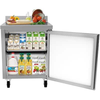 27 in. 6.3 cu. ft. Commercial Single Door Worktop Refrigerator in Stainless Steel