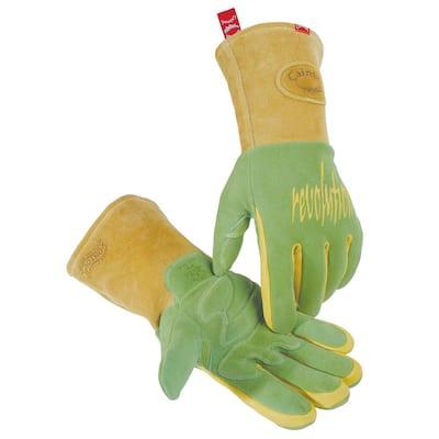 Large Green Ergonomic Deerskin Mig/Stick Welding Gloves